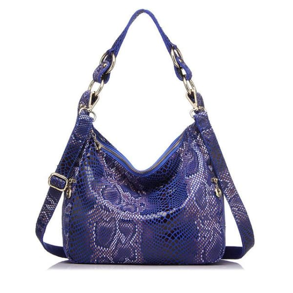 Leather Snakeskin Hobo - Royal Blue Snakeskin / Imported / 11.5W x 10.25H x 4D - Hobo
