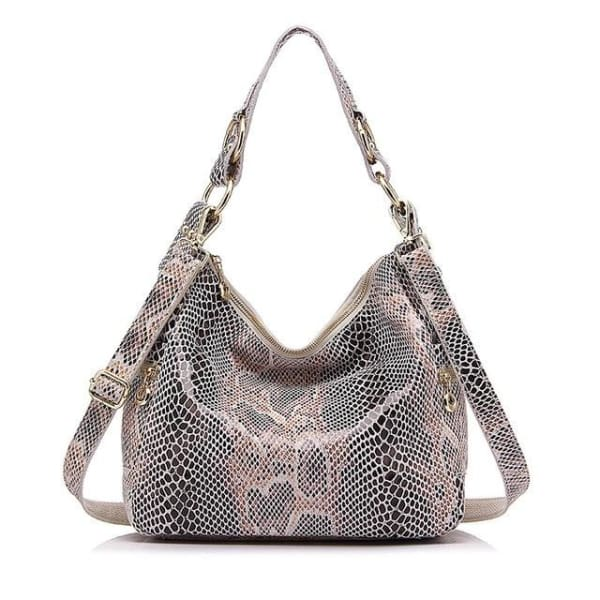 Leather Snakeskin Hobo - Beige Snakeskin / Imported / 11.5W x 10.25H x 4D - Hobo