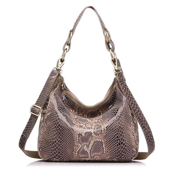 Leather Snakeskin Hobo - Khaki Snakeskin / Imported / 11.5W x 10.25H x 4D - Hobo