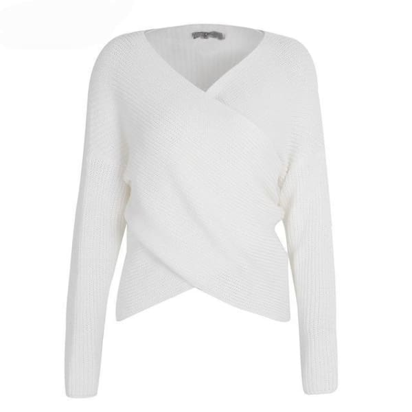 Cross Knit Pullover Sweater - White / One Size - Pullover
