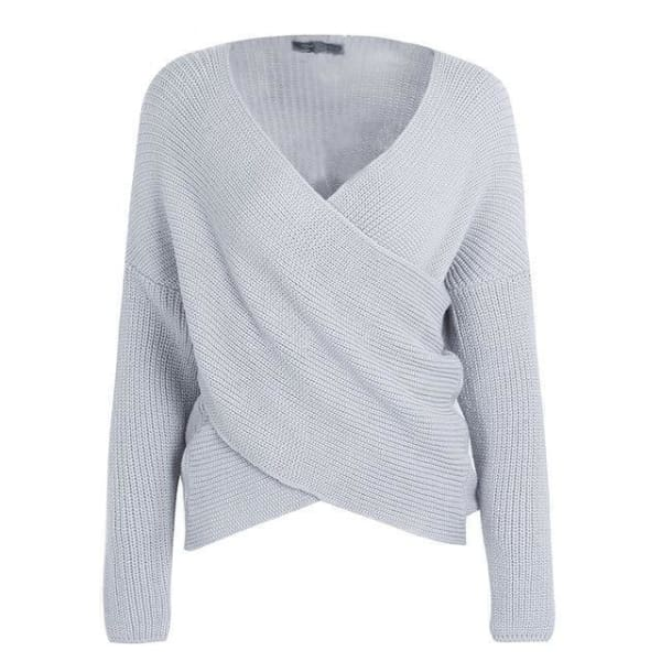 Cross Knit Pullover Sweater - Gray / One Size - Pullover