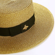 Retro Gold Braided Panama Hat with Bee - Panama
