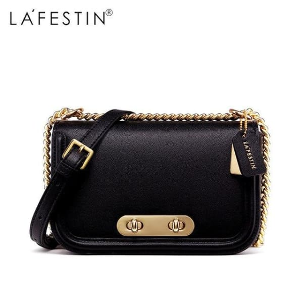 LAFESTIN Rounded Flap Crossbody Bag - Black - Crossbody