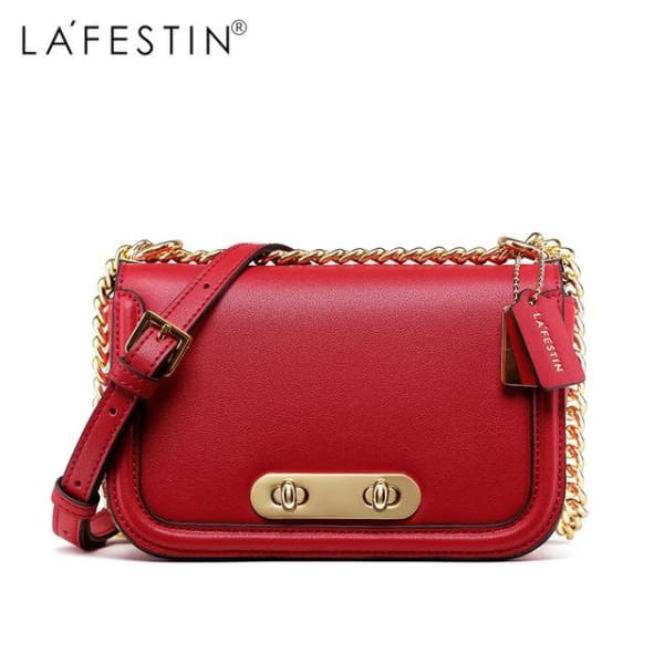 LAFESTIN Rounded Flap Crossbody Bag - Red - Crossbody