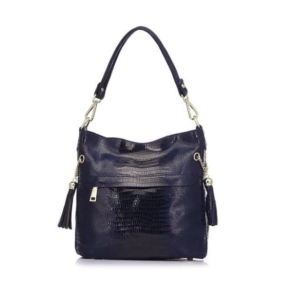 Leather Snakeskin Hobo - Blue / Imported - Hobo