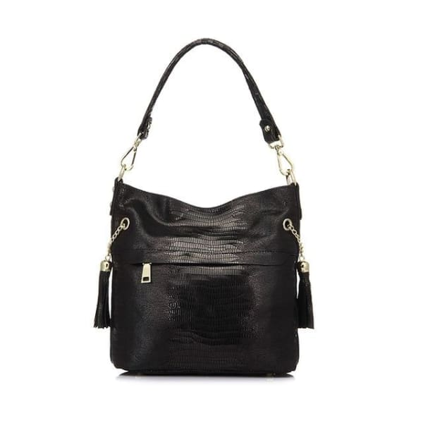 Leather Snakeskin Hobo - Black / Imported - Hobo