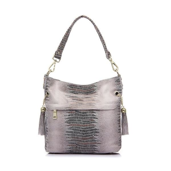Leather Snakeskin Hobo - Beige / Imported - Hobo
