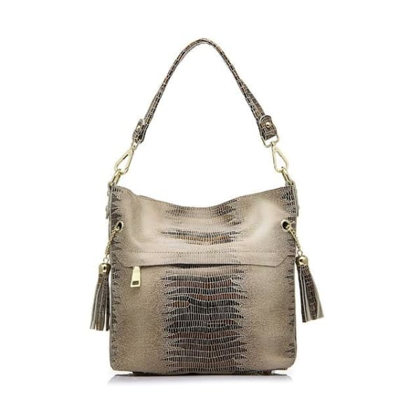 Leather Snakeskin Hobo - Apricot / Imported - Hobo