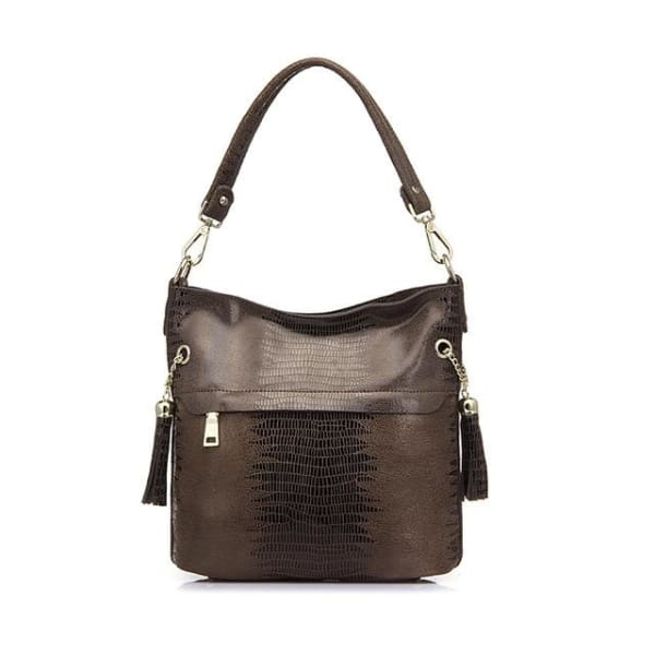 Leather Snakeskin Hobo - Brown / Imported - Hobo