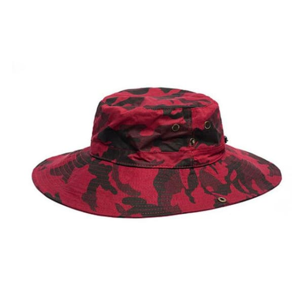 Camouflage Wide Brim Hat - Red / Women Size - Wide Brim