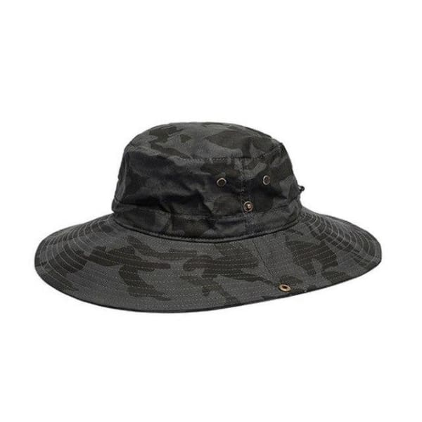 Camouflage Wide Brim Hat - Gray / Women Size - Wide Brim