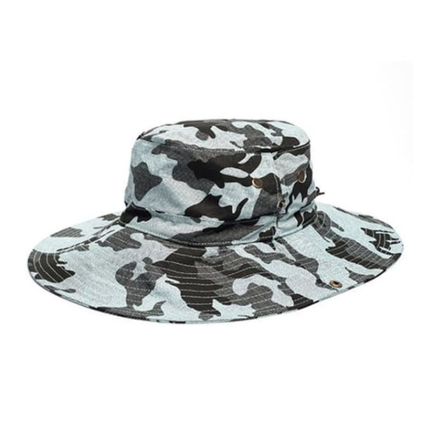 Camouflage Wide Brim Hat - Light Blue / Women Size - Wide Brim
