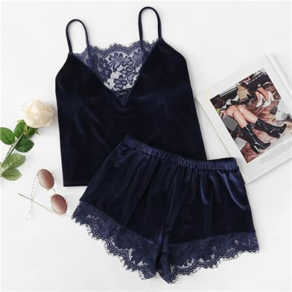 Navy Velvet Cami & Shorts Pajama Set - Navy / XS - Lingerie Set
