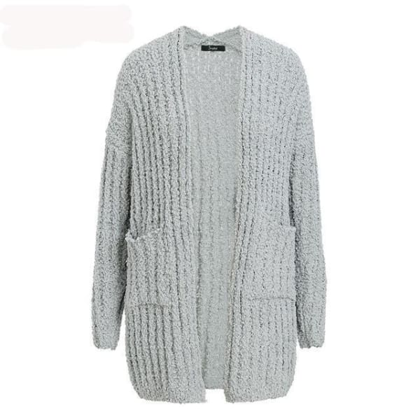 Long Casual Cardigan - Light Gray / One Size - Cardigan