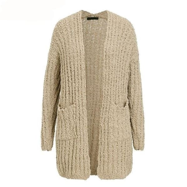 Long Casual Cardigan - Khaki / One Size - Cardigan