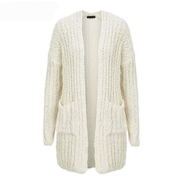 Long Casual Cardigan - Creamy White / One Size - Cardigan