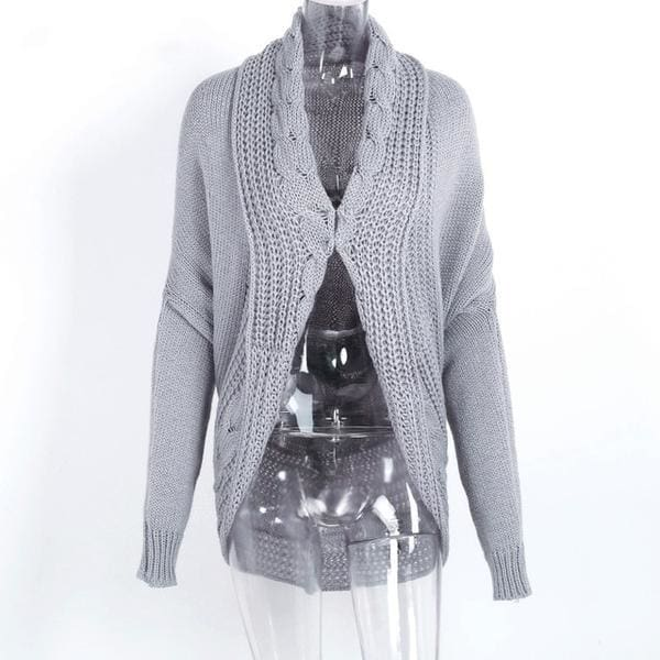 Shrug Knitted Cardigan - Gray / One Size - Sweater