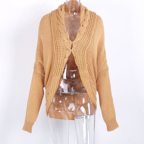 Shrug Knitted Cardigan - Khaki / One Size - Sweater