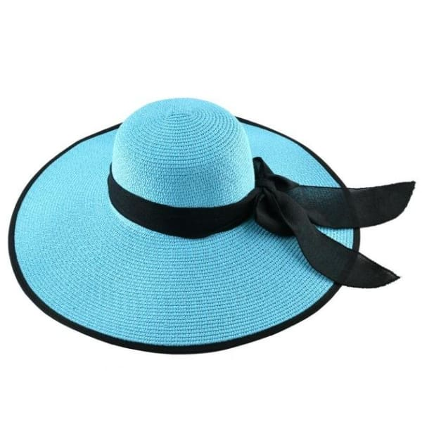 Floppy Straw Hat with Bow - Aqua / 56-59cm - Floppy