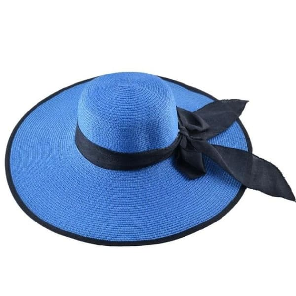 Floppy Straw Hat with Bow - Royal Blue / 56-59cm - Floppy