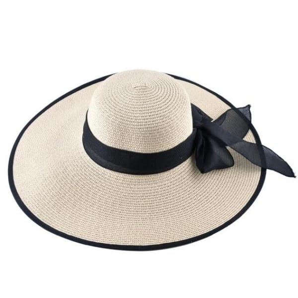 Floppy Straw Hat with Bow - Beige / 56-59cm - Floppy