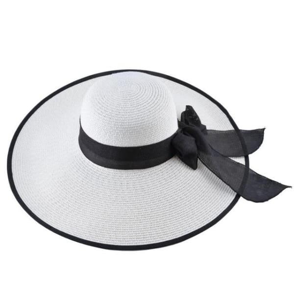 Floppy Straw Hat with Bow - White / 56-59cm - Floppy