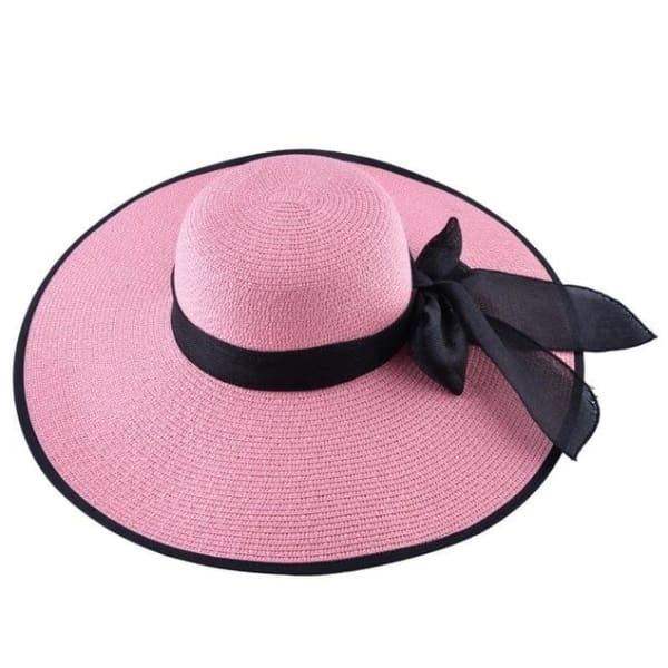 Floppy Straw Hat with Bow - Pink / 56-59cm - Floppy