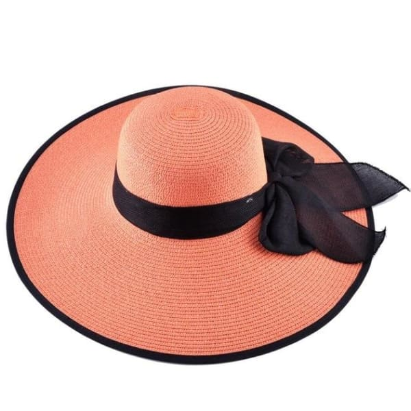 Floppy Straw Hat with Bow - Orange / 56-59cm - Floppy