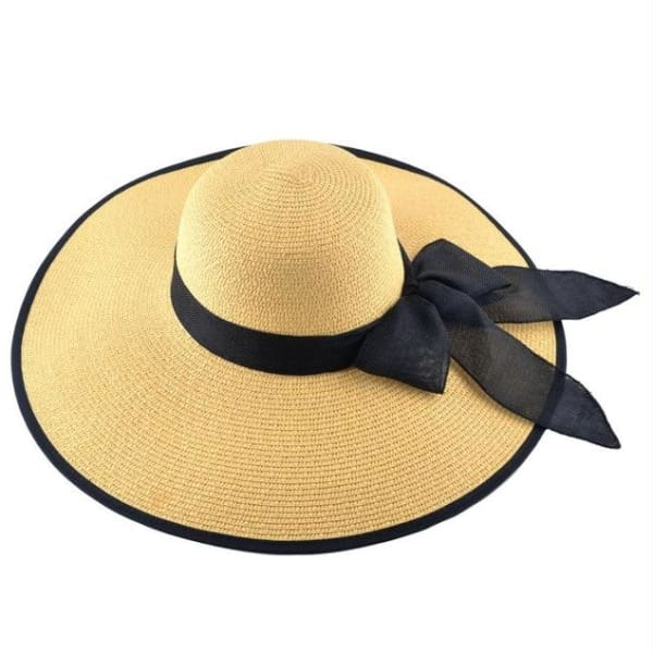 Floppy Straw Hat with Bow - Yellow / 56-59cm - Floppy