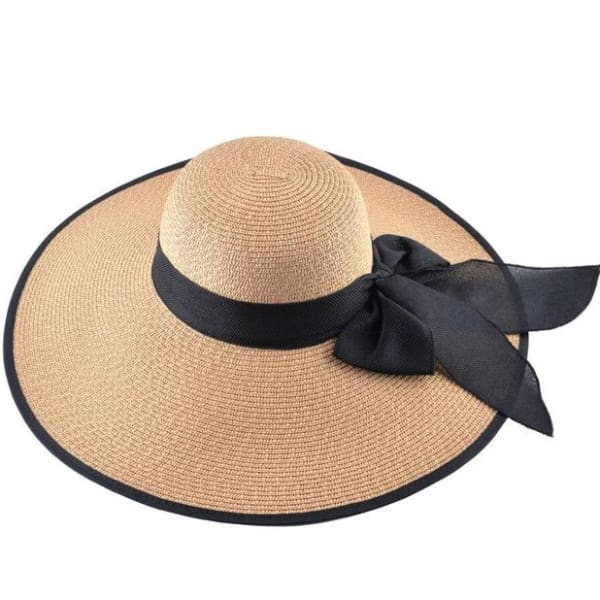 Floppy Straw Hat with Bow - Khaki / 56-59cm - Floppy