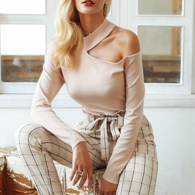 Off Shoulder Sweater - Sweater