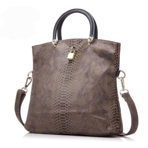 Leather Snakeskin Tote - Tote