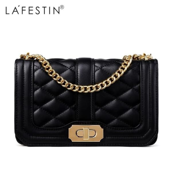 LAFESTIN Diamond Quilt Crossbody - Black - Crossbody