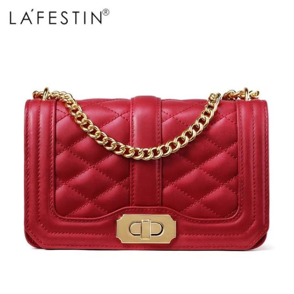 LAFESTIN Diamond Quilt Crossbody - Red - Crossbody