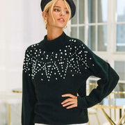 Studded Lantern Sleeve Sweater - Pullover