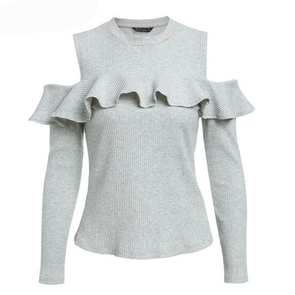 Cold Shoulder Ruffled Sweater - Gray / S - Sweater