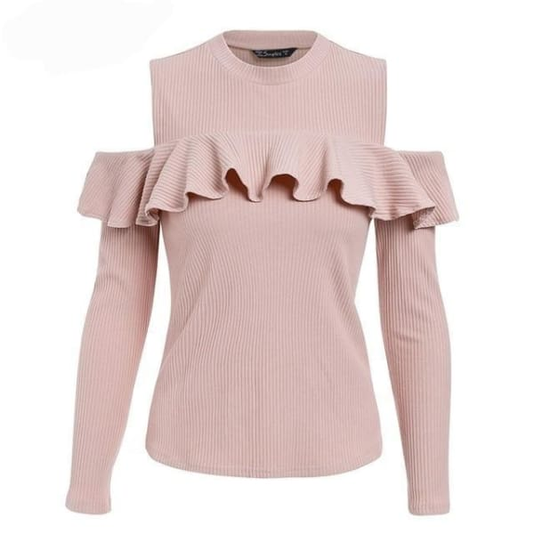 Cold Shoulder Ruffled Sweater - Pink / S - Sweater