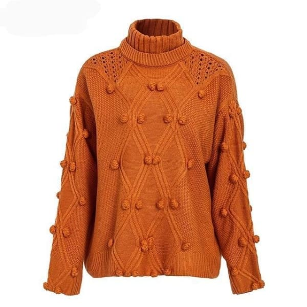 Hairball Pullover Sweater - Orange / One Size - Sweater