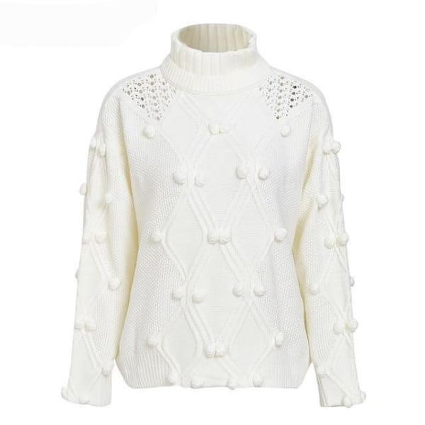 Hairball Pullover Sweater - White / One Size - Sweater