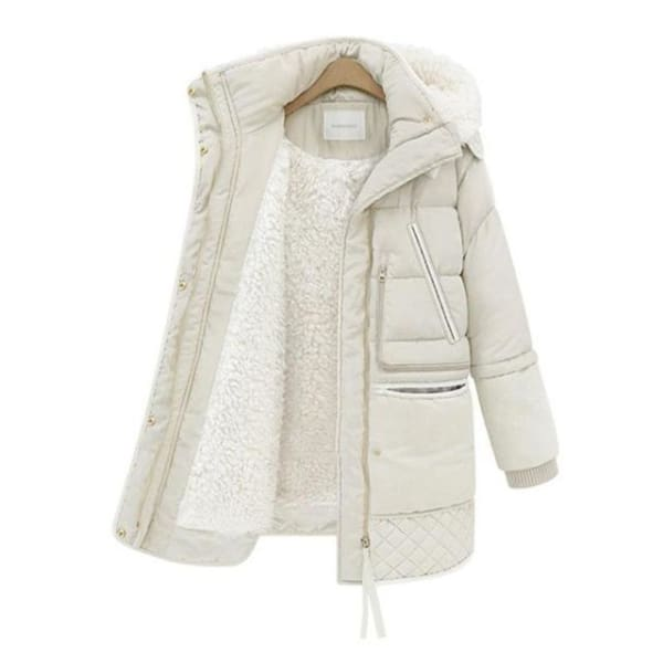 Quilted Hooded Puffer Coat - Beige / S - Coat