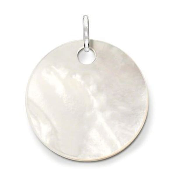 Mother of Pearl Disc & Feather Pendant Necklace - Necklace