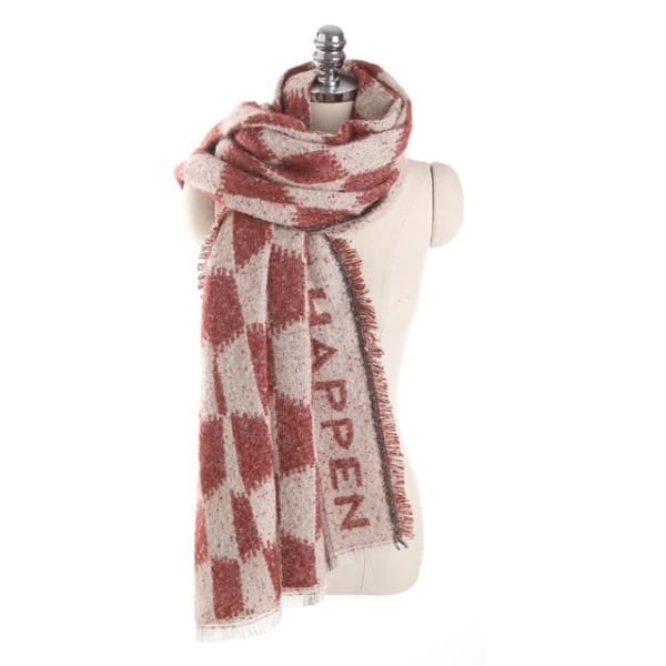 San Vitale Plaid Cashmere Scarf - Red - Scarf