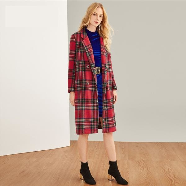 Tartan Plaid Long Coat - Coat