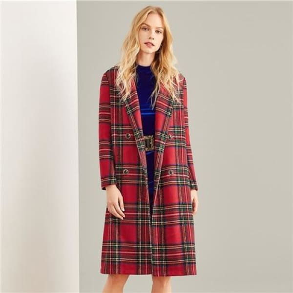 Tartan Plaid Long Coat - Multi / XS - Coat