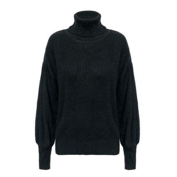 Lantern Sleeve Turtleneck - Black / One Size - Pullover