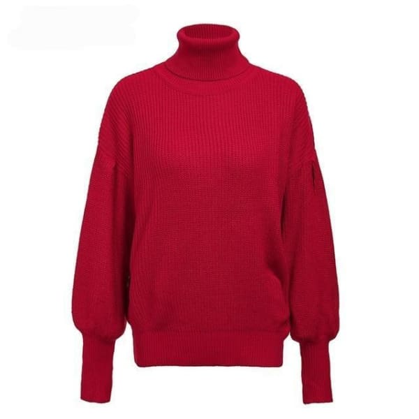 Lantern Sleeve Turtleneck - Red / One Size - Pullover