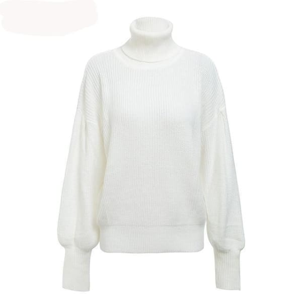 Lantern Sleeve Turtleneck - White / One Size - Pullover