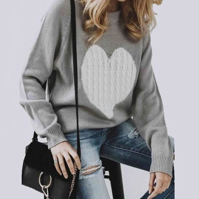 Embroidered Heart Sweater - Sweater