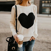 Embroidered Heart Sweater - Beige / L - Sweater
