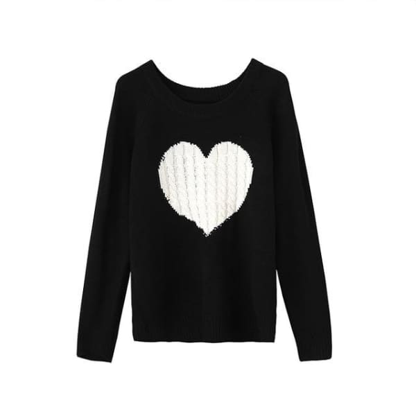 Embroidered Heart Sweater - Black / L - Sweater